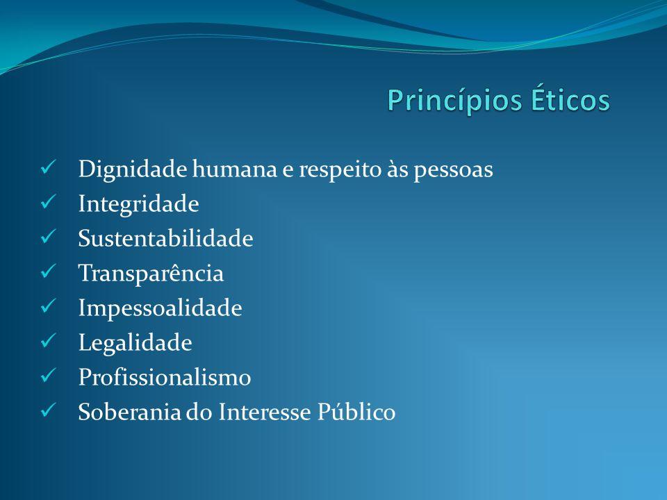 Dignidade humana e respeito às pessoas Integridade Sustentabilidade Transparência Impessoalidade Legalidade Profissionalismo Soberania do Interesse Pú