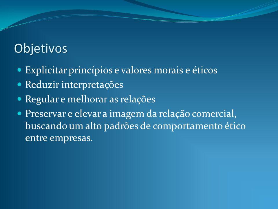 Objetivos Explicitar princípios e valores morais e éticos Reduzir interpretações Regular e melhorar as relações Preservar e elevar a imagem da relação