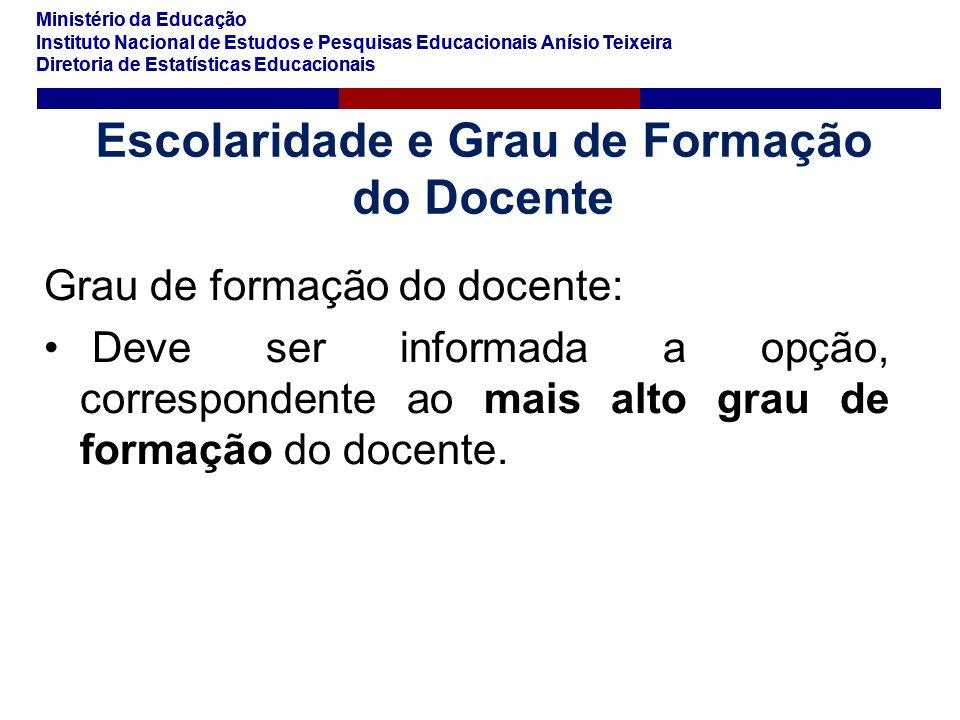 Ministério da Educação Instituto Nacional de Estudos e Pesquisas Educacionais Anísio Teixeira Diretoria de Estatísticas Educacionais Ministério da Edu