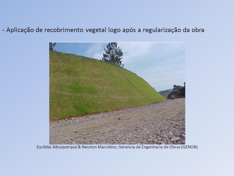 - Aplicação de recobrimento vegetal logo após a regularização da obra Euclides Albuquerque & Newton Marcelino, Gerencia de Engenharia de Obras (GENOB)