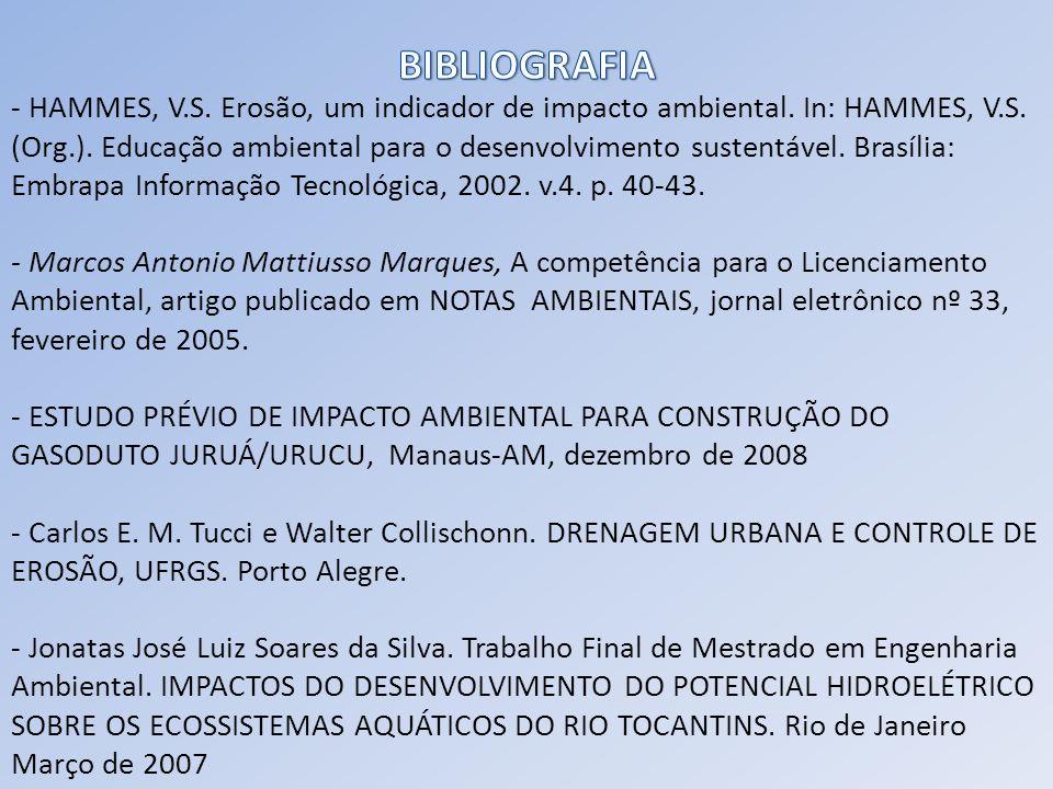 - HAMMES, V.S. Erosão, um indicador de impacto ambiental. In: HAMMES, V.S. (Org.). Educação ambiental para o desenvolvimento sustentável. Brasília: Em