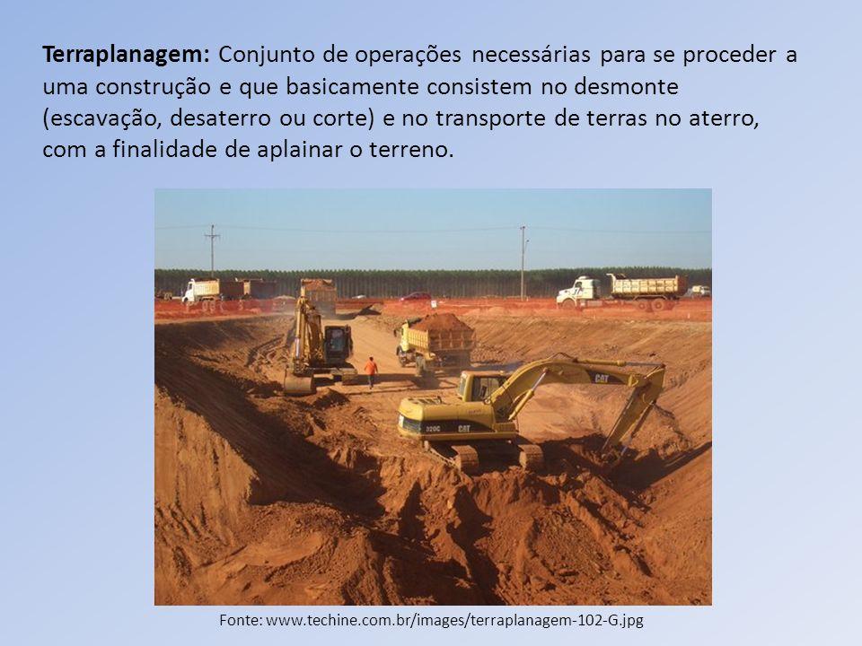 Terraplanagem: Conjunto de operações necessárias para se proceder a uma construção e que basicamente consistem no desmonte (escavação, desaterro ou co