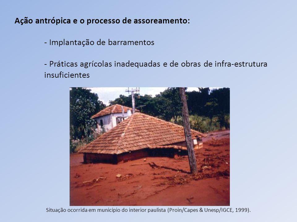 Ação antrópica e o processo de assoreamento: - Implantação de barramentos - Práticas agrícolas inadequadas e de obras de infra-estrutura insuficientes