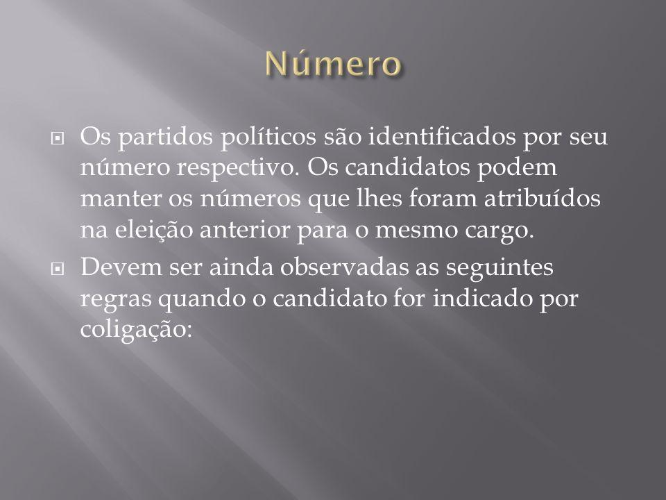Os partidos políticos são identificados por seu número respectivo. Os candidatos podem manter os números que lhes foram atribuídos na eleição anterior