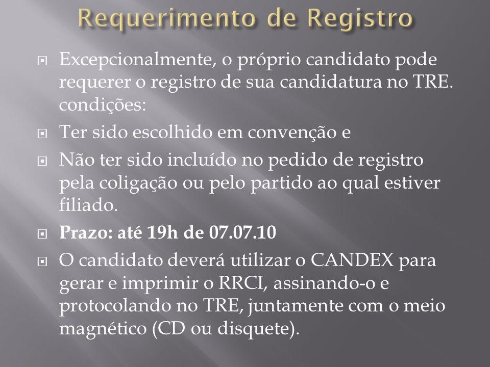 Excepcionalmente, o próprio candidato pode requerer o registro de sua candidatura no TRE. condições: Ter sido escolhido em convenção e Não ter sido in