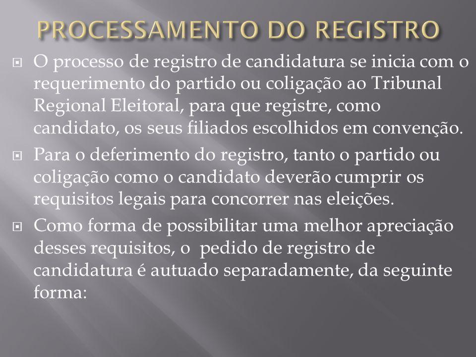 O processo de registro de candidatura se inicia com o requerimento do partido ou coligação ao Tribunal Regional Eleitoral, para que registre, como can