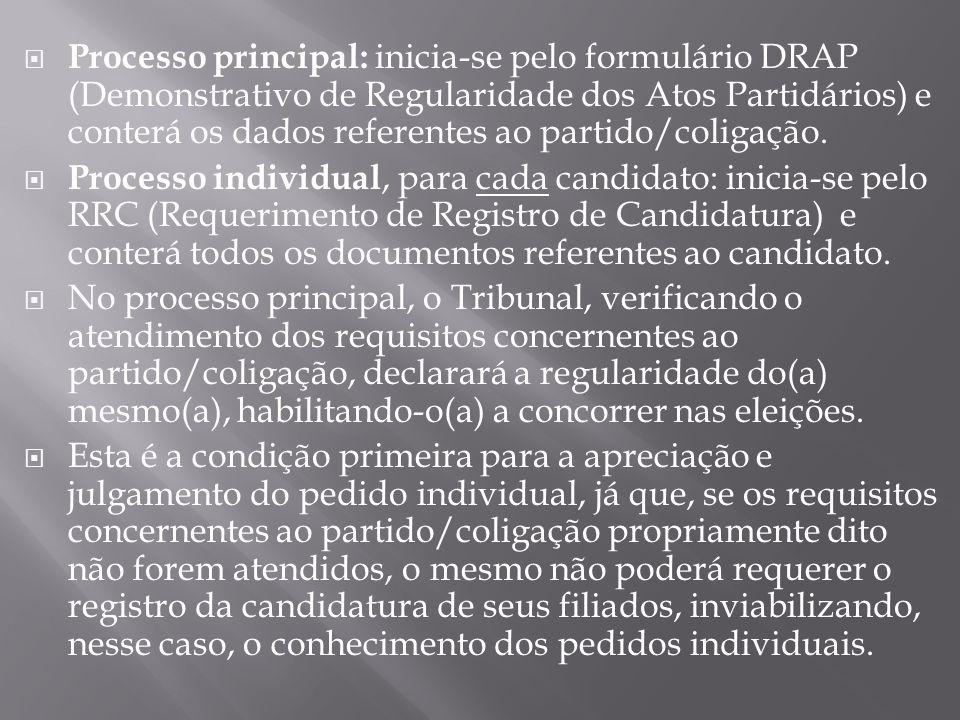 Processo principal: inicia-se pelo formulário DRAP (Demonstrativo de Regularidade dos Atos Partidários) e conterá os dados referentes ao partido/colig