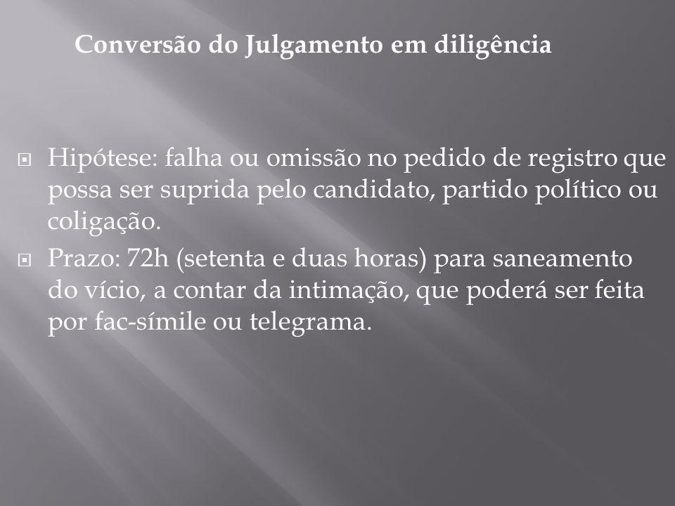 Conversão do Julgamento em diligência Hipótese: falha ou omissão no pedido de registro que possa ser suprida pelo candidato, partido político ou colig