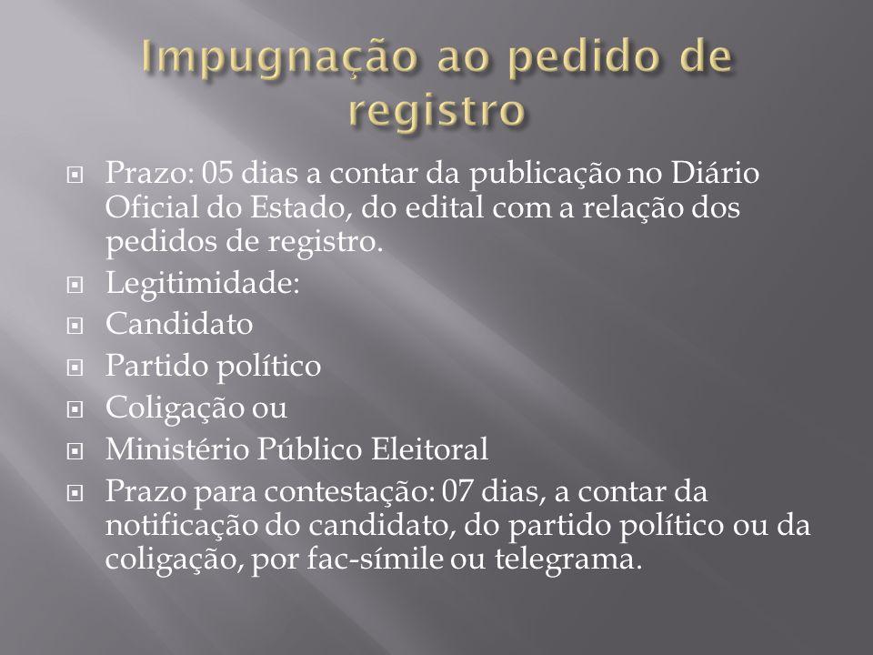 Prazo: 05 dias a contar da publicação no Diário Oficial do Estado, do edital com a relação dos pedidos de registro. Legitimidade: Candidato Partido po