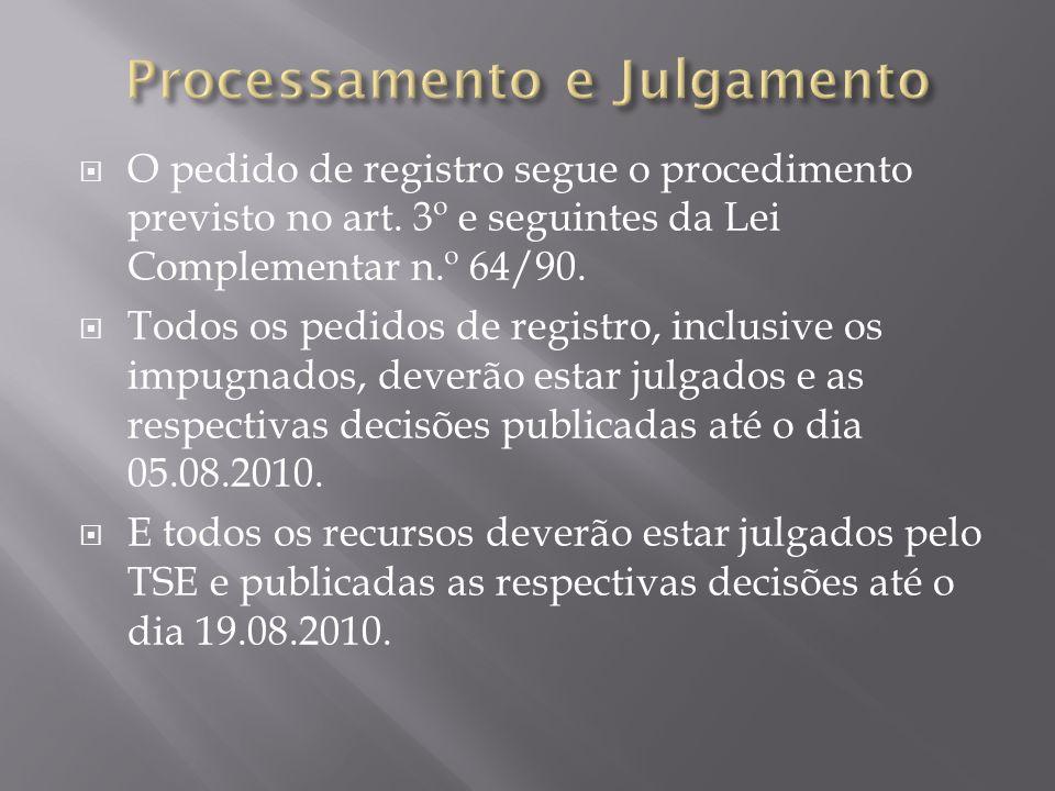 O pedido de registro segue o procedimento previsto no art. 3º e seguintes da Lei Complementar n.º 64/90. Todos os pedidos de registro, inclusive os im