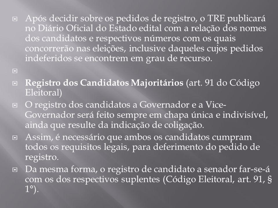Após decidir sobre os pedidos de registro, o TRE publicará no Diário Oficial do Estado edital com a relação dos nomes dos candidatos e respectivos núm