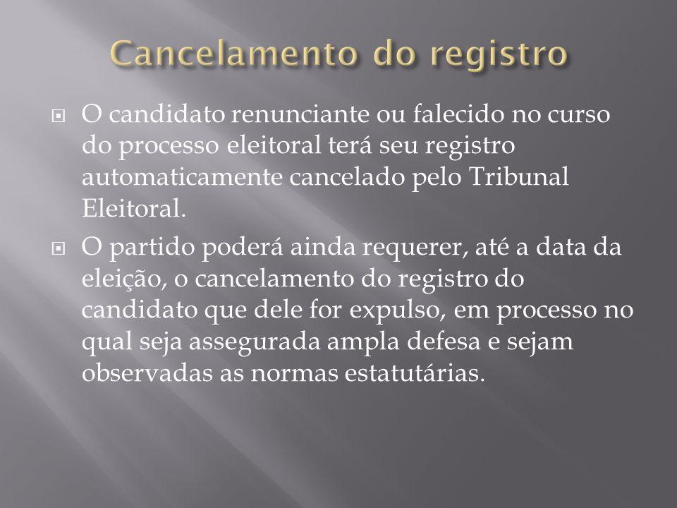 O candidato renunciante ou falecido no curso do processo eleitoral terá seu registro automaticamente cancelado pelo Tribunal Eleitoral. O partido pode