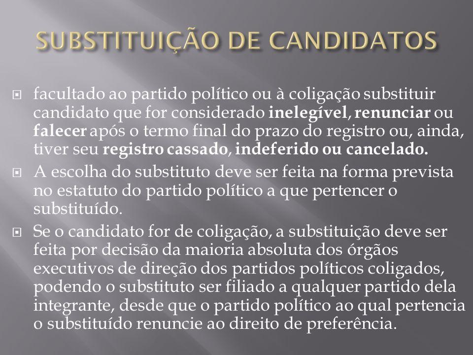 facultado ao partido político ou à coligação substituir candidato que for considerado inelegível, renunciar ou falecer após o termo final do prazo do