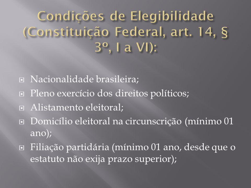Nacionalidade brasileira; Pleno exercício dos direitos políticos; Alistamento eleitoral; Domicílio eleitoral na circunscrição (mínimo 01 ano); Filiaçã