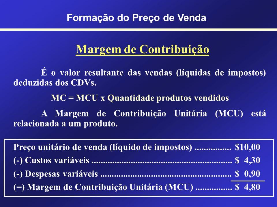 Formação do Preço de Venda Custos e Despesas Variáveis O valor dos custos e despesas variáveis varia proporcionalmente à quantidade de produção (compr