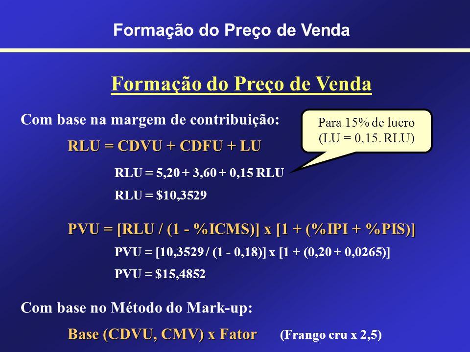 COM BASE NOS CUSTOS RLU = CDVU + CDFU + LU RLU = Receita Líquida Unitária CDVU = Custos e Despesas Variáveis Unitárias CDFU = Custos e Despesas Fixas