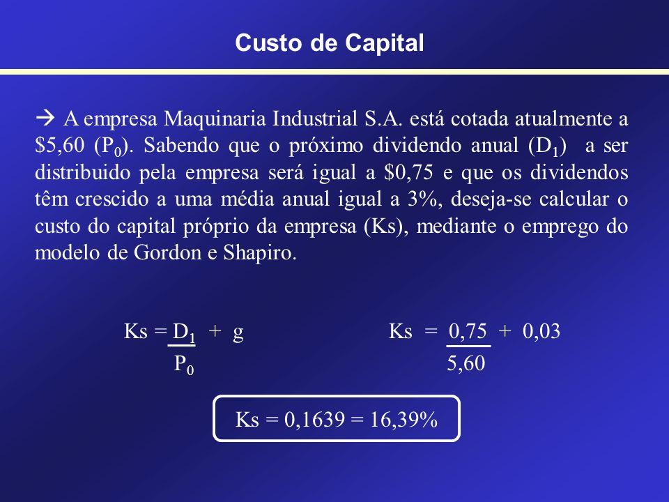 Modelo de Gordon e Shapiro Ks = D 1 + g P 0 Custo de Capital Ks = Custo do capital dos acionistas (Shareholders) D 1 = Dividendo por ação no ano 1 P 0