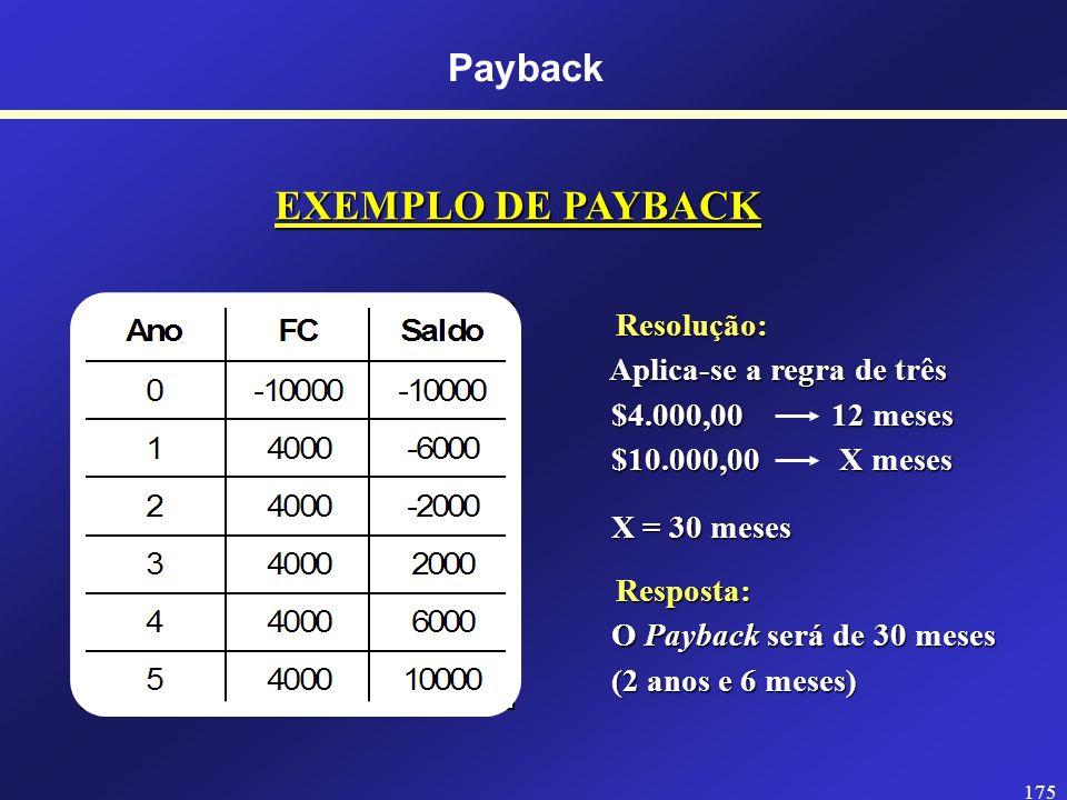 174 EXEMPLO DE PAYBACK - Uma empresa está considerando a aquisição de um ativo no valor de $10.000,00 que gera entradas de caixa anuais de $4.000,00 p