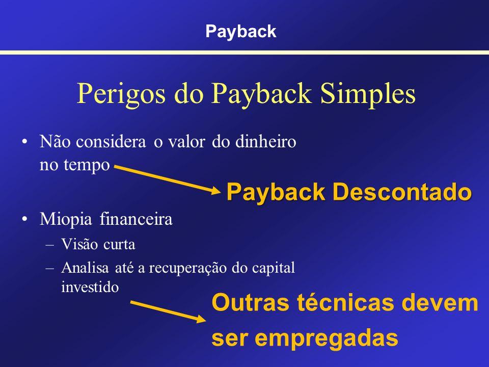 Vantagens do Payback Simples Simples Fácil de calcular Fácil de entender Payback