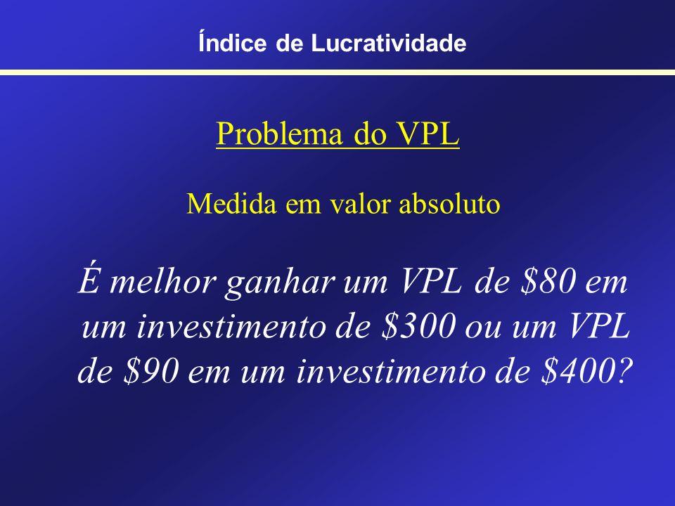 Uma variante do VPL Índice de Lucratividade Índice de Lucratividade