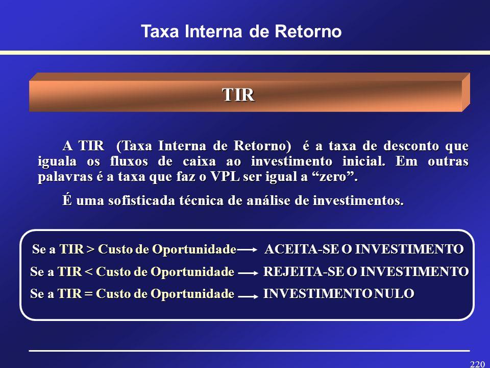 219 Prof. Hubert Chamone Gesser, Dr. Retornar Taxa Interna de Retorno -TIR