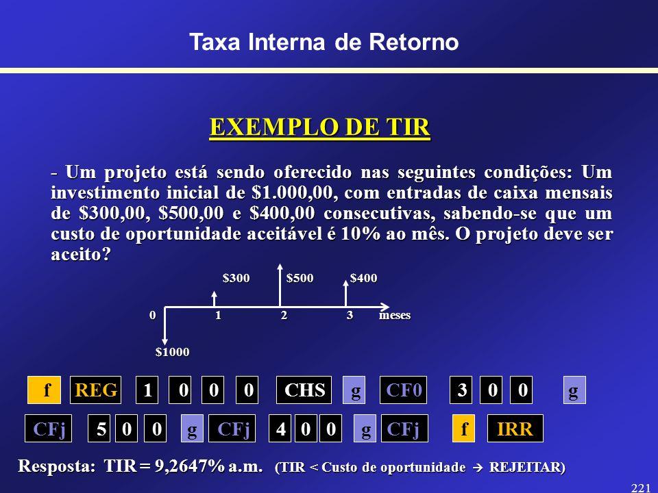 220 Taxa Interna de RetornoTIR A TIR (Taxa Interna de Retorno) é a taxa de desconto que iguala os fluxos de caixa ao investimento inicial. Em outras p