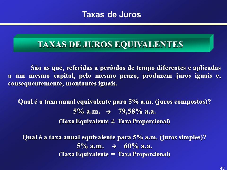 41 TAXAS DE JUROS PROPORCIONAIS Com juros simples as taxas proporcionais são também equivalentes. Com juros compostos as taxas proporcionais não são e