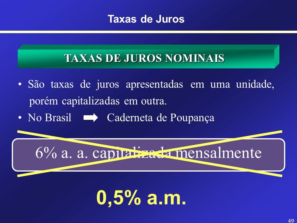 48 TAXAS DE JUROS NOMINAIS Refere-se aquela definida a um período de tempo diferente do definido para a capitalizacão. Refere-se aquela definida a um