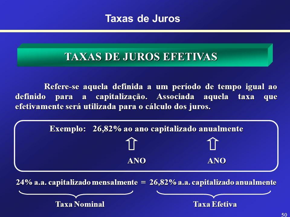 6% a. a. capitalizada mensalmente 49 TAXAS DE JUROS NOMINAIS Taxas de Juros São taxas de juros apresentadas em uma unidade, porém capitalizadas em out