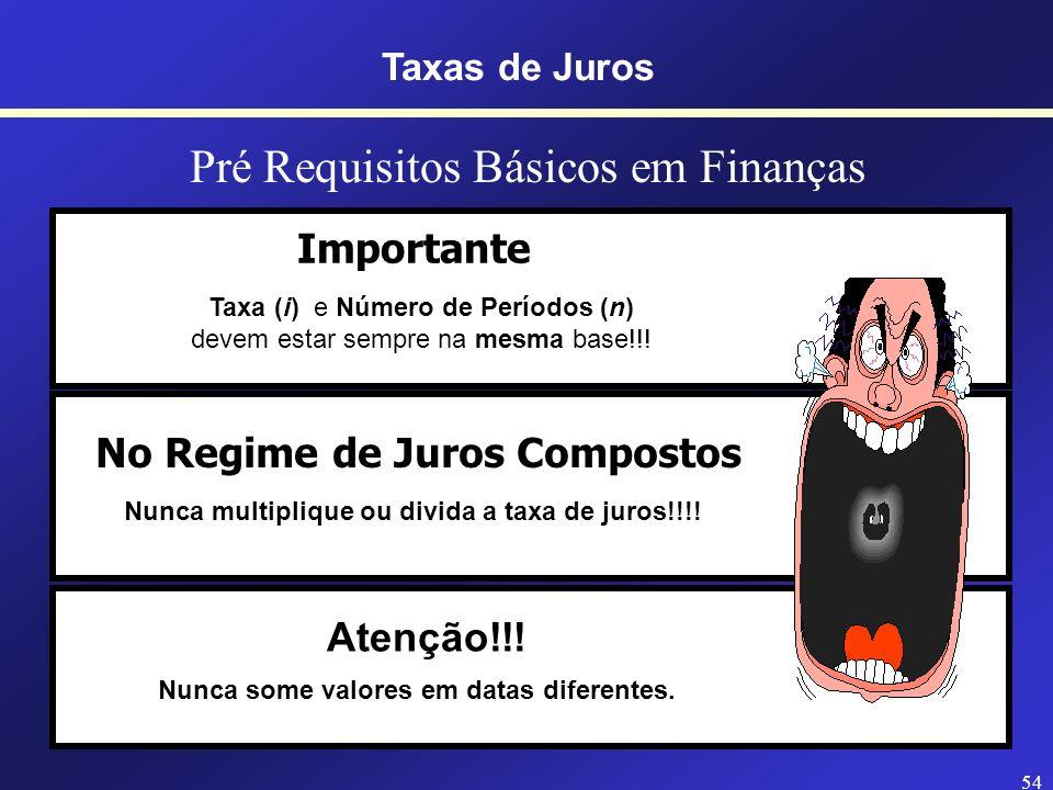 53 PRINCÍPIO DA MATEMÁTICA FINANCEIRA A T E N Ç Ã O Quando taxa e período estiverem em unidades de tempo diferentes, opte pela conversão do prazo. Tax