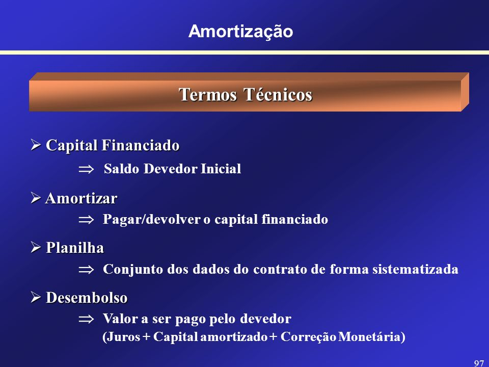 96 Amortização Noções Introdutórias Quando um empréstimo é realizado/contraído, o tomador de recursos (pessoa física/jurídica) e o emprestador de recu