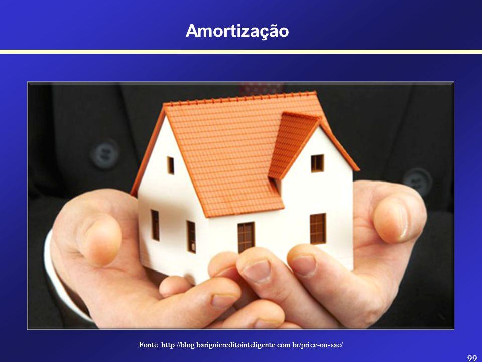 98 Amortização SISTEMA SAC Taxa de juros (i) Amortizações Juros Valor Presente Características: - A amortização é CONSTANTE (uniforme); - Os juros inc