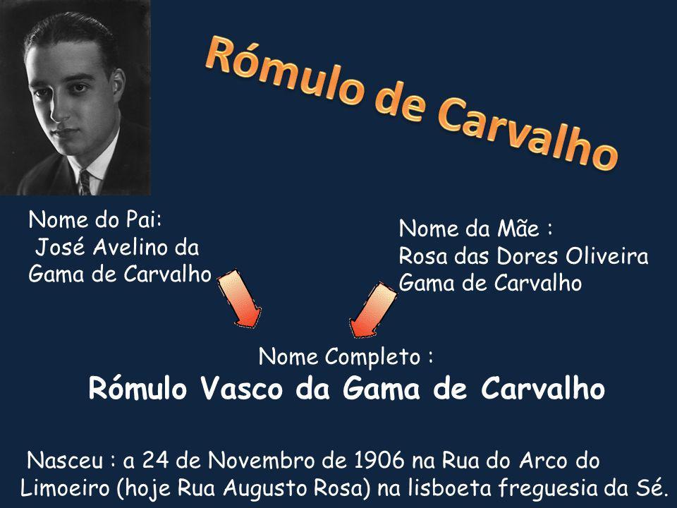 Nome do Pai: José Avelino da Gama de Carvalho Nome Completo : Rómulo Vasco da Gama de Carvalho Nome da Mãe : Rosa das Dores Oliveira Gama de Carvalho