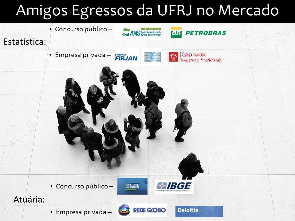 Amigos Egressos da UFRJ no Mercado Estatística: Concurso público – Empresa privada – Atuária: Concurso público – Empresa privada –