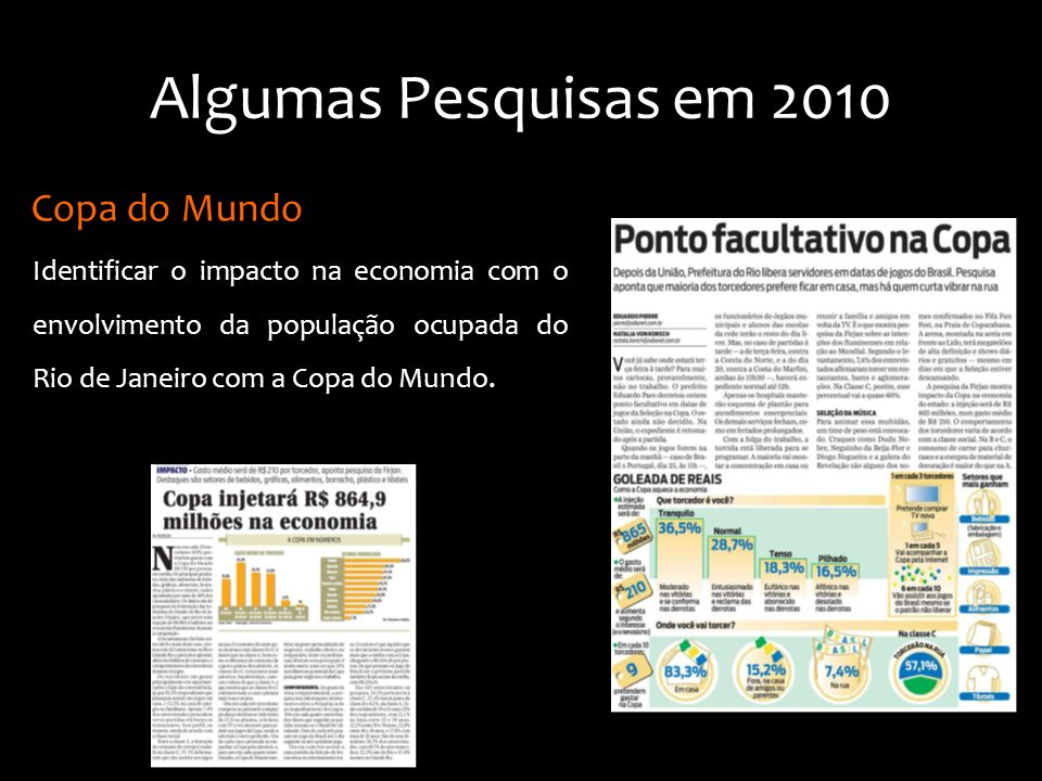 Identificar o impacto na economia com o envolvimento da população ocupada do Rio de Janeiro com a Copa do Mundo. Copa do Mundo Algumas Pesquisas em 20