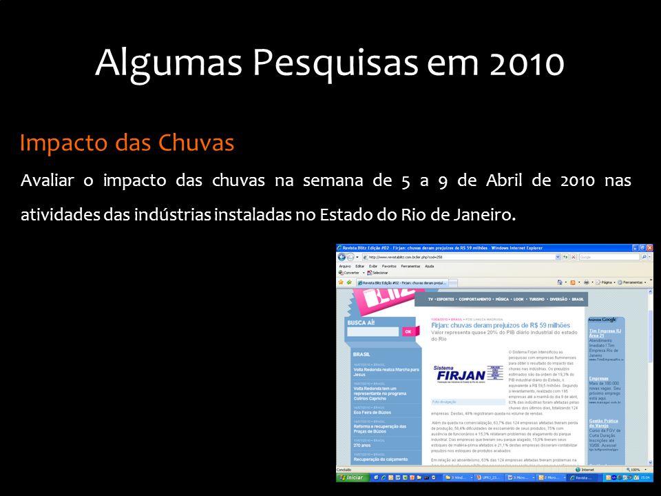 Impacto das Chuvas Avaliar o impacto das chuvas na semana de 5 a 9 de Abril de 2010 nas atividades das indústrias instaladas no Estado do Rio de Janeiro.