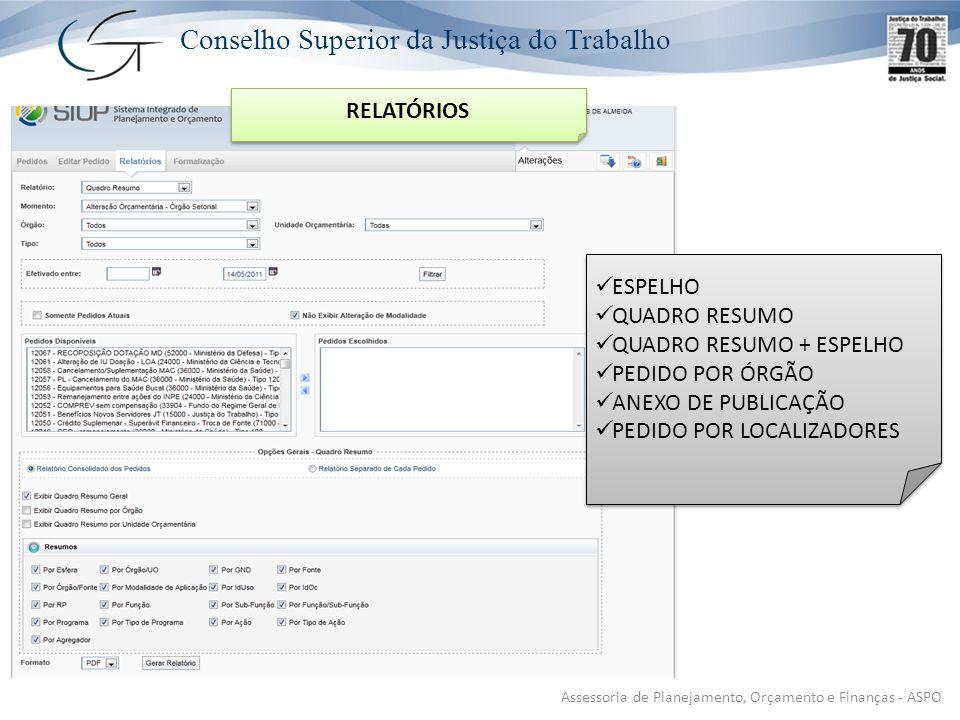 Conselho Superior da Justiça do Trabalho Assessoria de Planejamento, Orçamento e Finanças - ASPO RELATÓRIOS ESPELHO QUADRO RESUMO QUADRO RESUMO + ESPELHO PEDIDO POR ÓRGÃO ANEXO DE PUBLICAÇÃO PEDIDO POR LOCALIZADORES ESPELHO QUADRO RESUMO QUADRO RESUMO + ESPELHO PEDIDO POR ÓRGÃO ANEXO DE PUBLICAÇÃO PEDIDO POR LOCALIZADORES