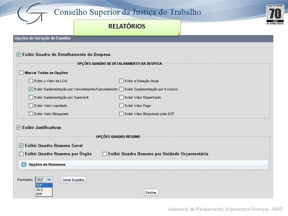 Conselho Superior da Justiça do Trabalho Assessoria de Planejamento, Orçamento e Finanças - ASPO RELATÓRIOS