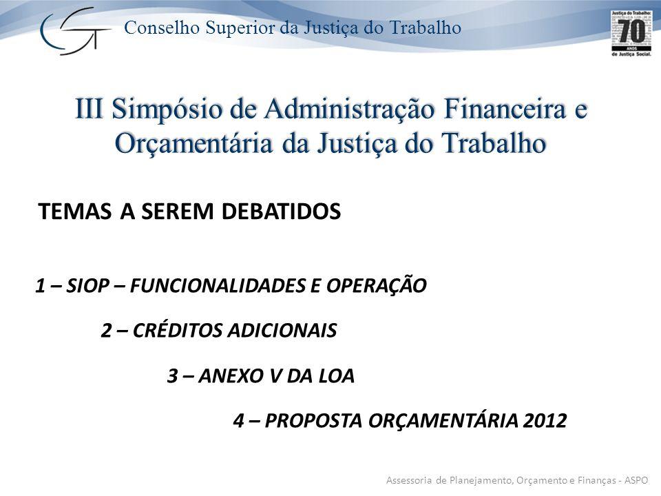 Conselho Superior da Justiça do Trabalho TEMAS A SEREM DEBATIDOS 1 – SIOP – FUNCIONALIDADES E OPERAÇÃO 2 – CRÉDITOS ADICIONAIS 3 – ANEXO V DA LOA 4 – PROPOSTA ORÇAMENTÁRIA 2012 III Simpósio de Administração Financeira e Orçamentária da Justiça do Trabalho Assessoria de Planejamento, Orçamento e Finanças - ASPO