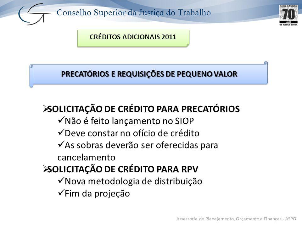 Conselho Superior da Justiça do Trabalho Assessoria de Planejamento, Orçamento e Finanças - ASPO CRÉDITOS ADICIONAIS 2011 PRECATÓRIOS E REQUISIÇÕES DE PEQUENO VALOR SOLICITAÇÃO DE CRÉDITO PARA PRECATÓRIOS Não é feito lançamento no SIOP Deve constar no ofício de crédito As sobras deverão ser oferecidas para cancelamento SOLICITAÇÃO DE CRÉDITO PARA RPV Nova metodologia de distribuição Fim da projeção