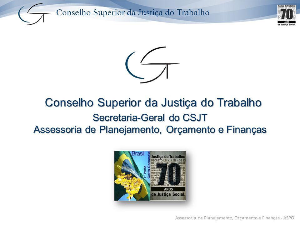 Conselho Superior da Justiça do Trabalho Secretaria-Geral do CSJT Assessoria de Planejamento, Orçamento e Finanças Conselho Superior da Justiça do Trabalho Conselho Superior da Justiça do Trabalho Assessoria de Planejamento, Orçamento e Finanças - ASPO