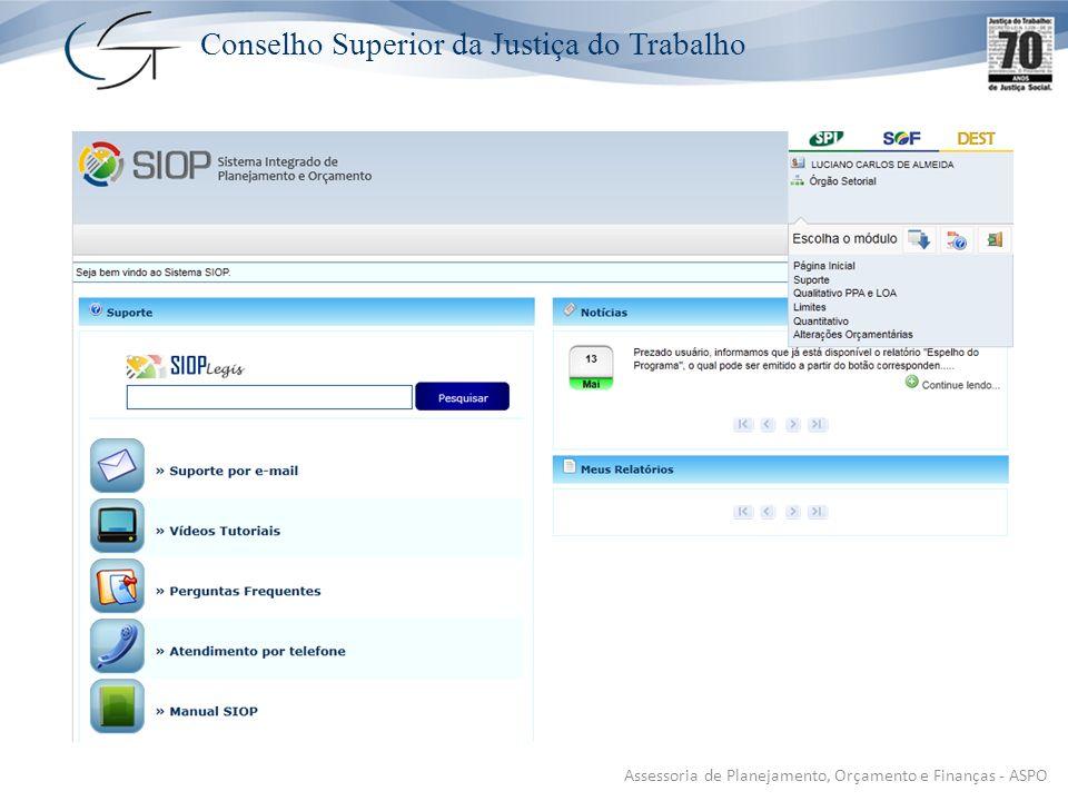 Conselho Superior da Justiça do Trabalho Assessoria de Planejamento, Orçamento e Finanças - ASPO
