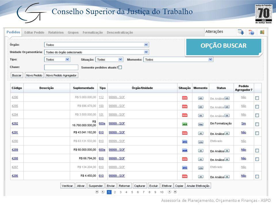 Conselho Superior da Justiça do Trabalho Assessoria de Planejamento, Orçamento e Finanças - ASPO OPÇÃO BUSCAR