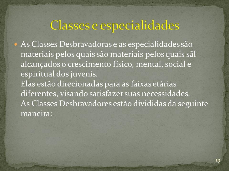 As Classes Desbravadoras e as especialidades são materiais pelos quais são materiais pelos quais sãl alcançados o crescimento físico, mental, social e