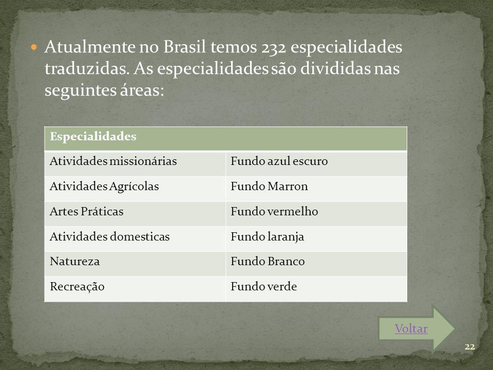 Atualmente no Brasil temos 232 especialidades traduzidas. As especialidades são divididas nas seguintes áreas: Especialidades Atividades missionáriasF
