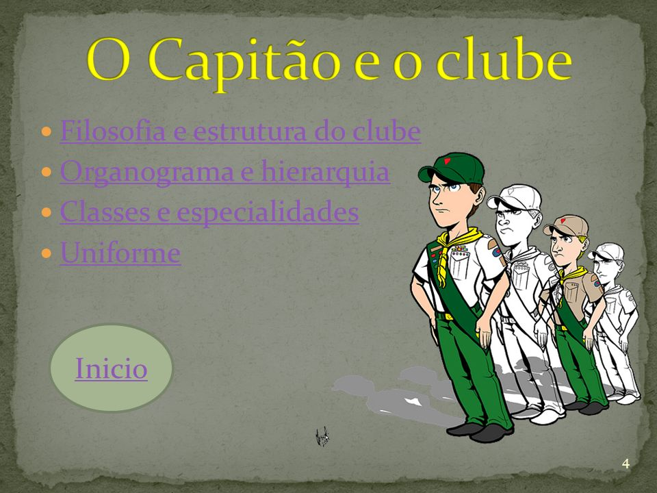 Filosofia e estrutura do clube Organograma e hierarquia Classes e especialidades Uniforme 4 Inicio