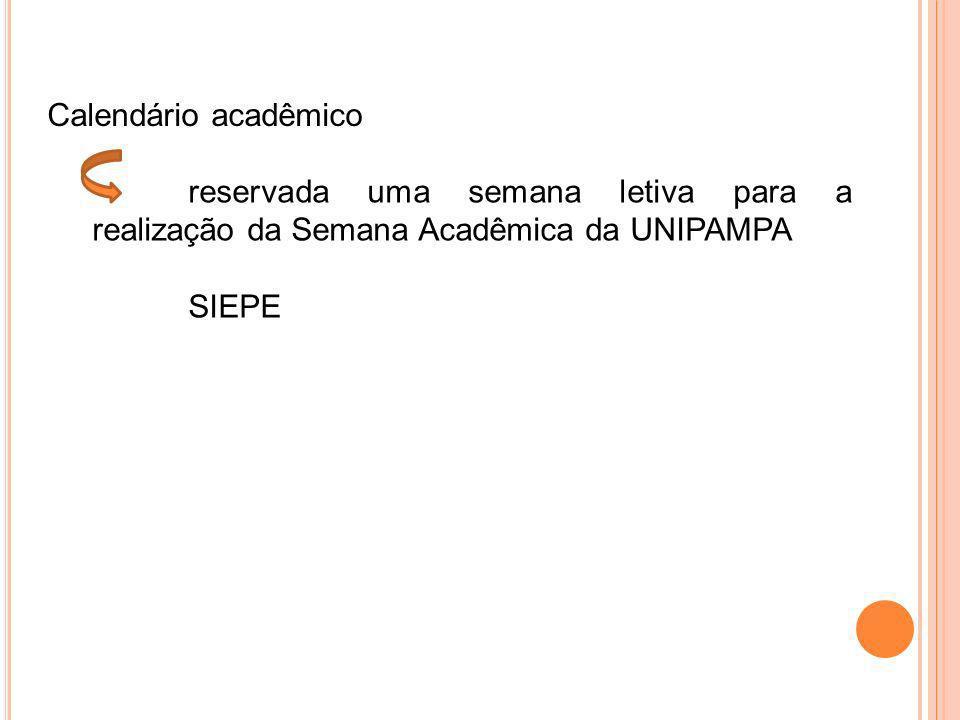 Calendário acadêmico reservada uma semana letiva para a realização da Semana Acadêmica da UNIPAMPA SIEPE