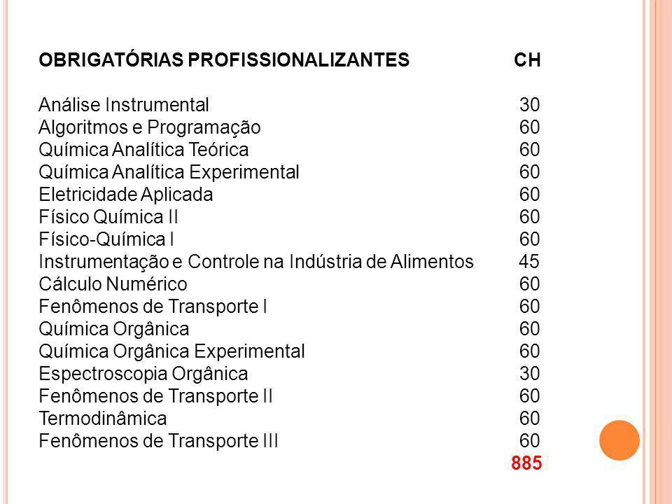 OBRIGATÓRIAS PROFISSIONALIZANTES CH Análise Instrumental 30 Algoritmos e Programação 60 Química Analítica Teórica 60 Química Analítica Experimental 60