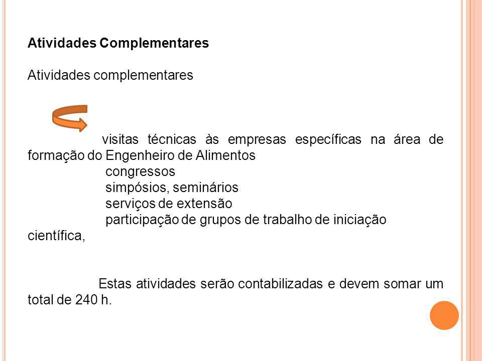 Atividades Complementares Atividades complementares visitas técnicas às empresas específicas na área de formação do Engenheiro de Alimentos congressos