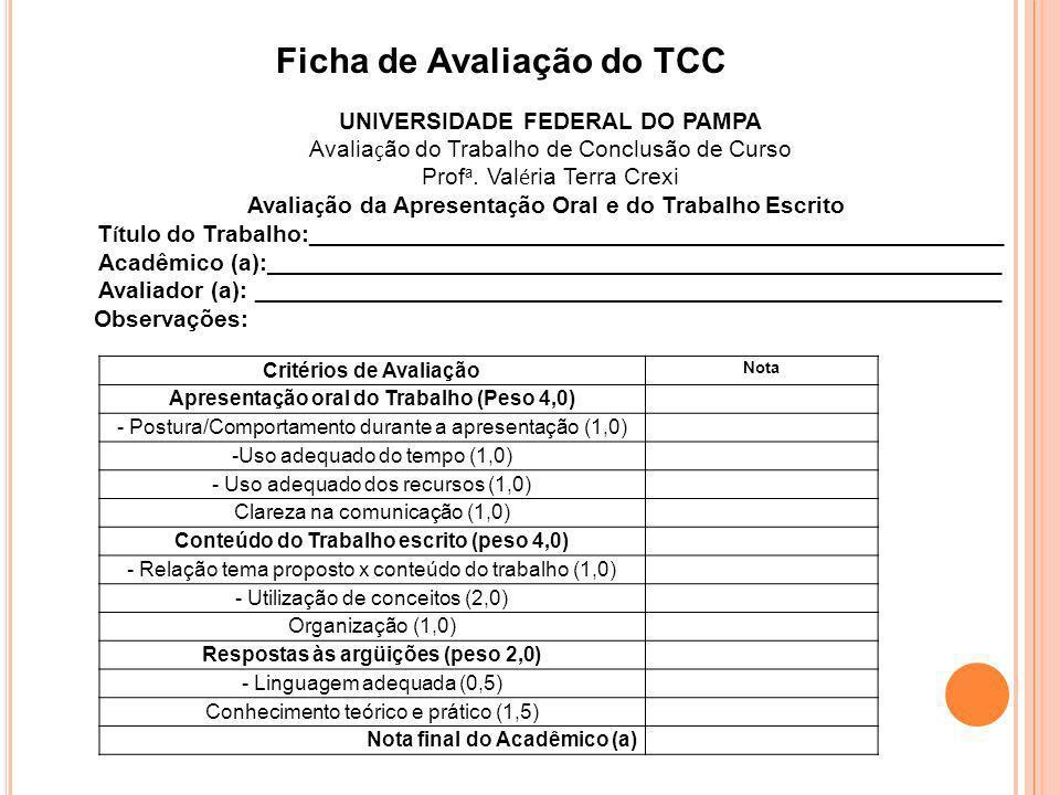 Ficha de Avaliação do TCC Critérios de Avaliação Nota Apresentação oral do Trabalho (Peso 4,0) - Postura/Comportamento durante a apresentação (1,0) -U
